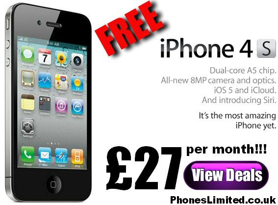 Free iPhone 4S Contract Deals from just £27 per month
